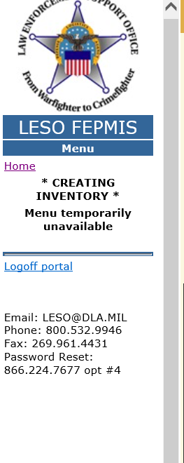 LESO FEPMIS Creating Inventory Menu Unavailable
